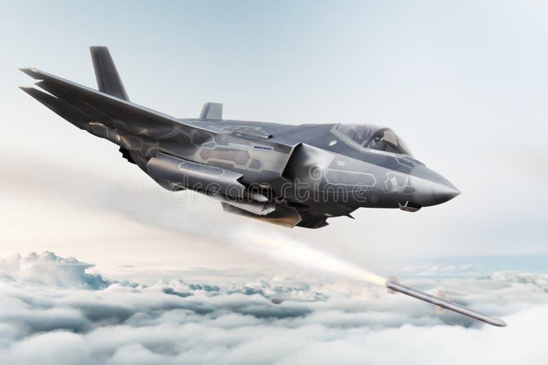 F-35 geavanceerd militaire vliegtuigensluiten op doel en vurenraket ` s stock illustratie