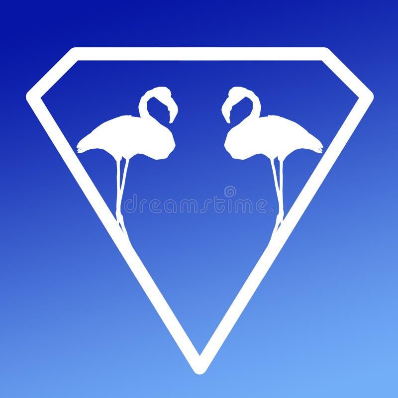 F?gelflamingopar Logo Banner Image p? bl? lutningbakgrund stock illustrationer