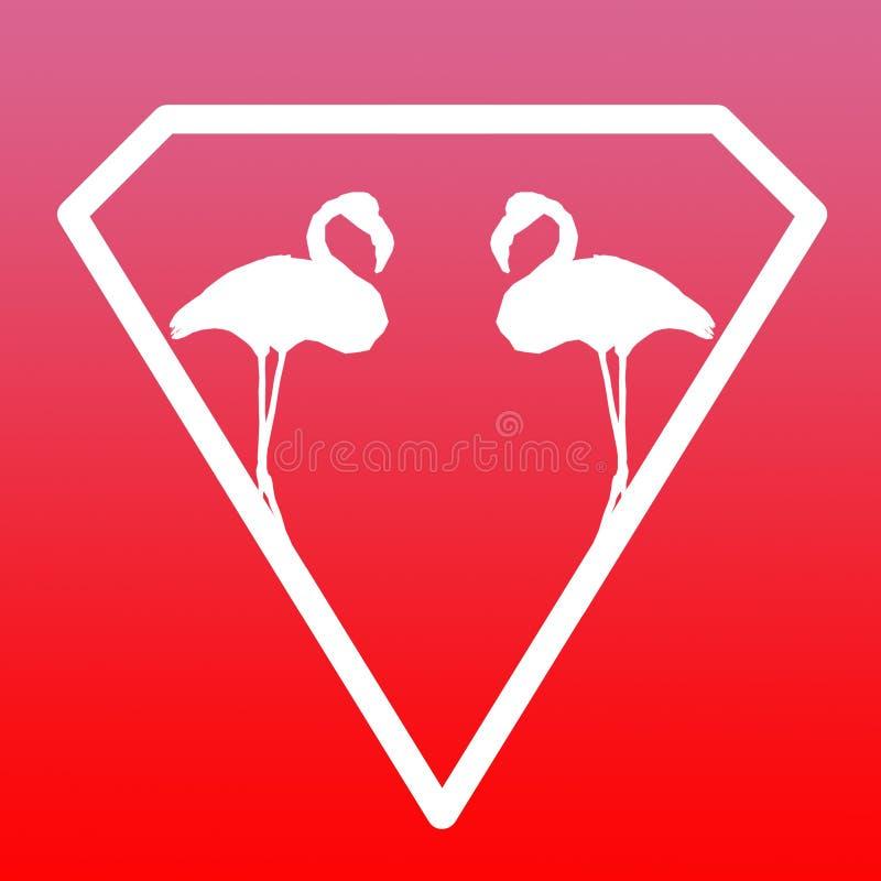 F?gelflamingopar Logo Banner Image p? r?d rosa lutningbakgrund stock illustrationer