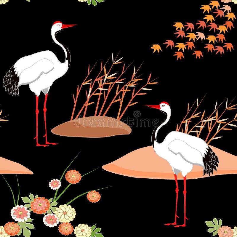 f?glar m?nsan seamless kran Heron japansk modell Prydnad med orientaliska motiv vektor royaltyfri illustrationer