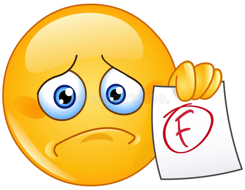 F grade emoticon. Disappointed emoticon showing a paper with F failure grade stock illustration