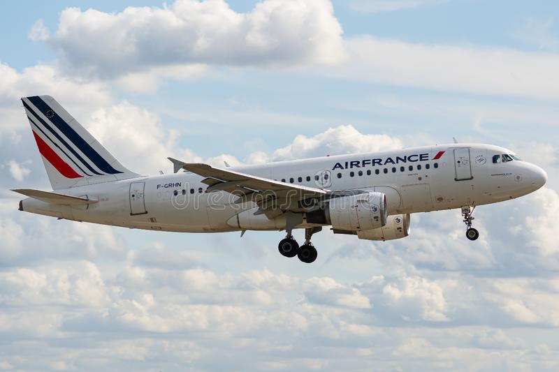 Airbus A319-111 operated by Air France on landing. F-GRHN, 23 September 2019, Airbus A319-111-1267 landing on Paris Roissy Charles de Gaulle airport at the end royalty free stock images