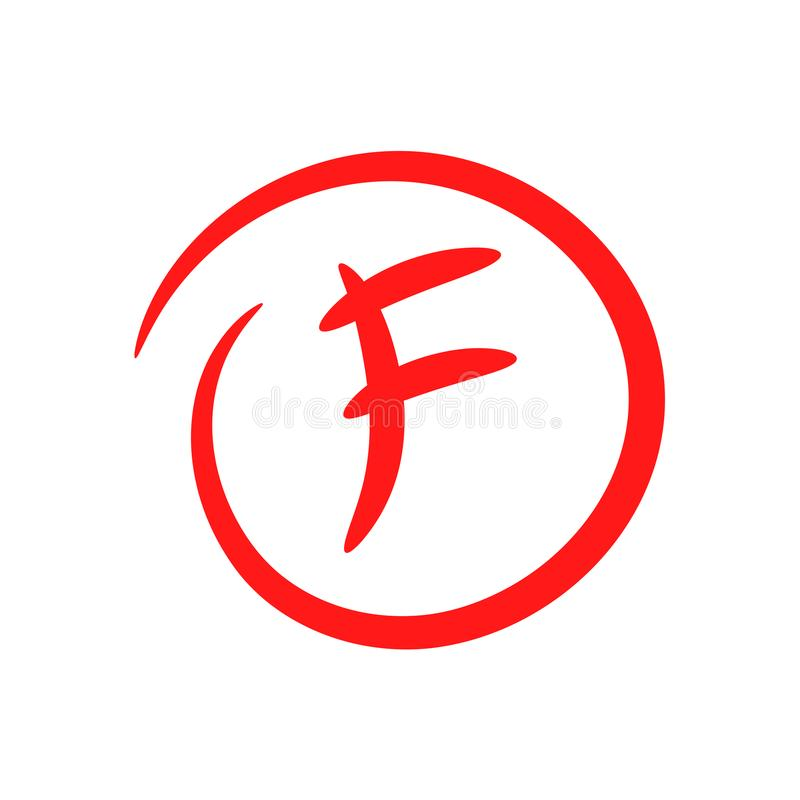 F. Hand drawn grade result with circle. Fail the exam. Worst work. Vector icon stock illustration
