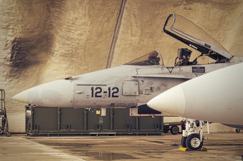 F18 in hangar royalty free stock photo