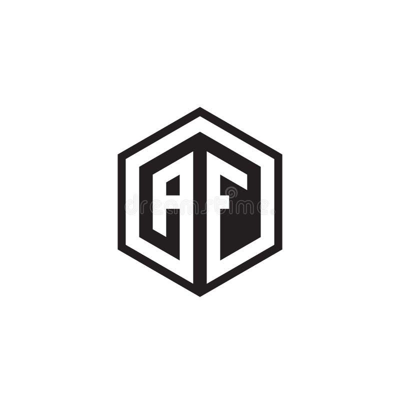 H F Hexagon Letter Logo Design Concept Stock Vector
