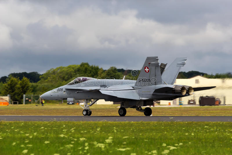 F18 Hornet Swiss Air Force. Farnborough Airshow 2014 UK, Swiss Air Force in action stock photo