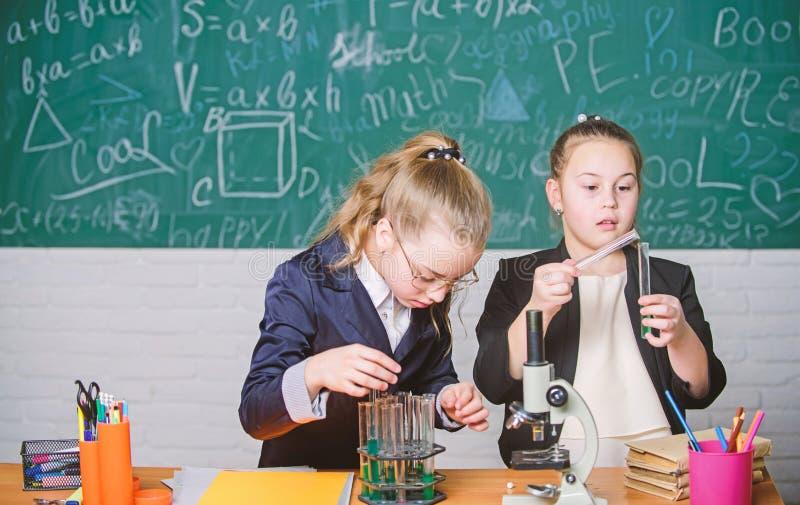 F?hren Sie chemische Reaktionen durch Grundlagenkenntnisse von Chemie Make die Chemie studierend interessant P?dagogisches Experi lizenzfreie stockfotografie