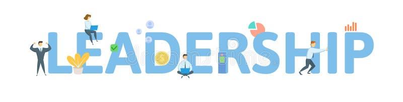 F?hrung Konzept mit Leuten, Buchstaben und Ikonen Flache Vektorillustration Getrennt auf wei?em Hintergrund vektor abbildung
