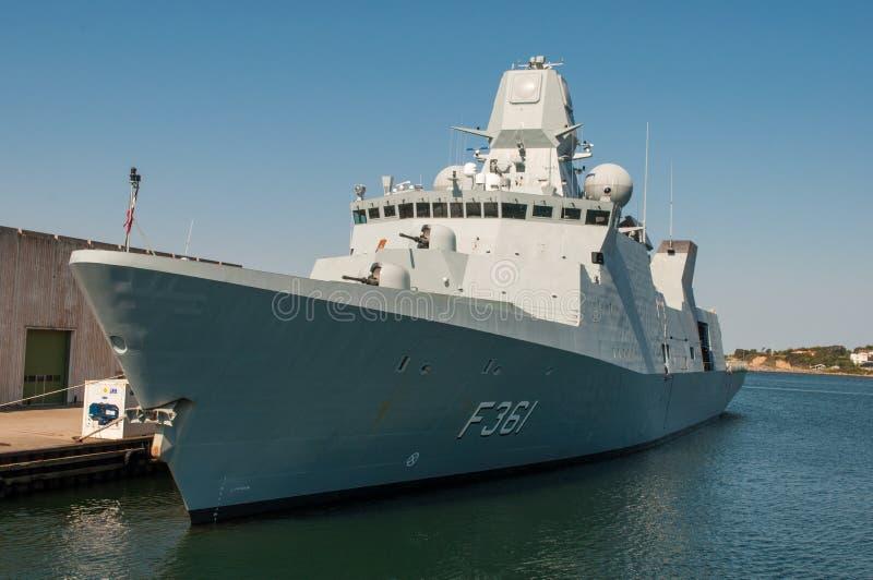 F361 Iver Huitfeldt fregata od Duńskiej marynarki wojennej zdjęcia stock