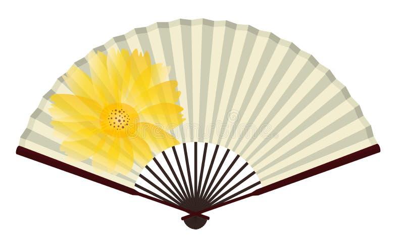 F? japon?s tradicional antigo com pintura do cris?ntemo ilustração stock