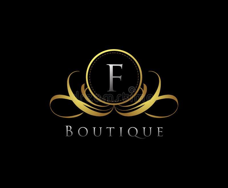 F Letter boutique logo design. E Letter boutique logo design. E letter boutique logo, luxury, vector, vintage, template, emblem, decoration, elegant, floral stock image