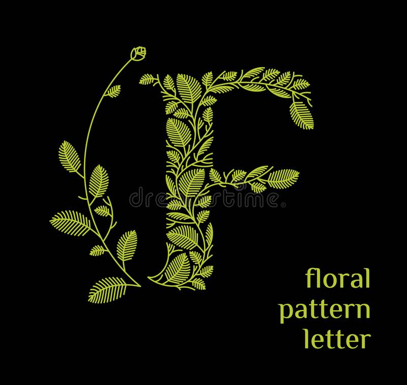 F letter eco logo isolated on black background. Organic bio logo from green grass leaves, plants for corporate identity. F letter eco logo isolated on white vector illustration