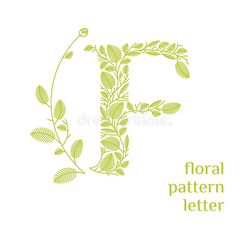 F letter eco logo isolated on white background. Organic bio logo from green grass leaves, plants for corporate identity. Of the company or brand on the letter f stock illustration