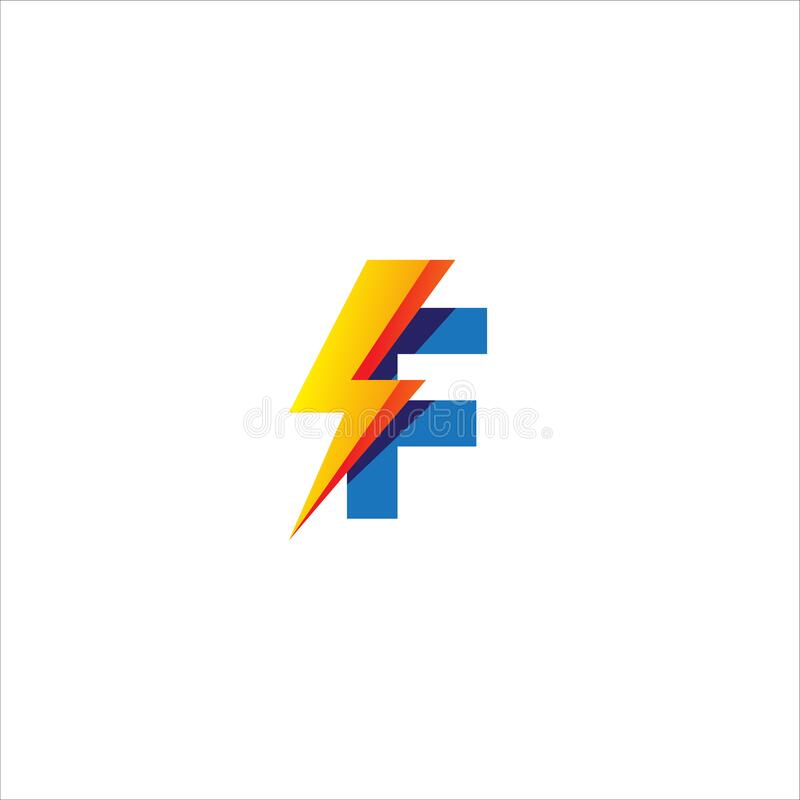 Free F Letter Initial Logo Design Template. Alphabet With Thunder Shape Logo Concept. Blue And Yellow Orange Gradation Color Theme. Stock Image - 189501111