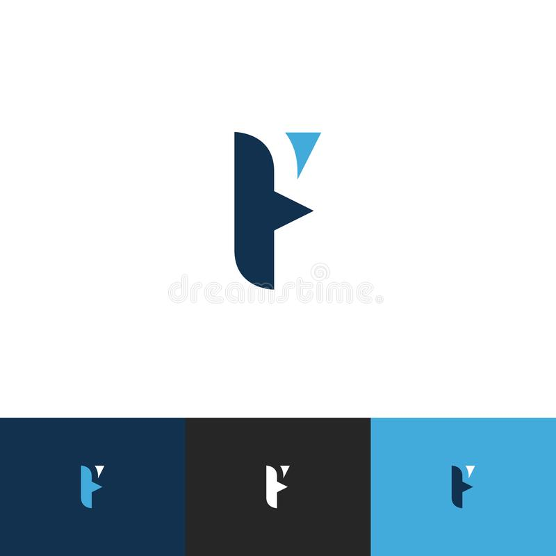 F Letter Logo Design with Blue, Sky Color. Cool Modern Icon Letters Logo Vector. Editable Vector royalty free stock image