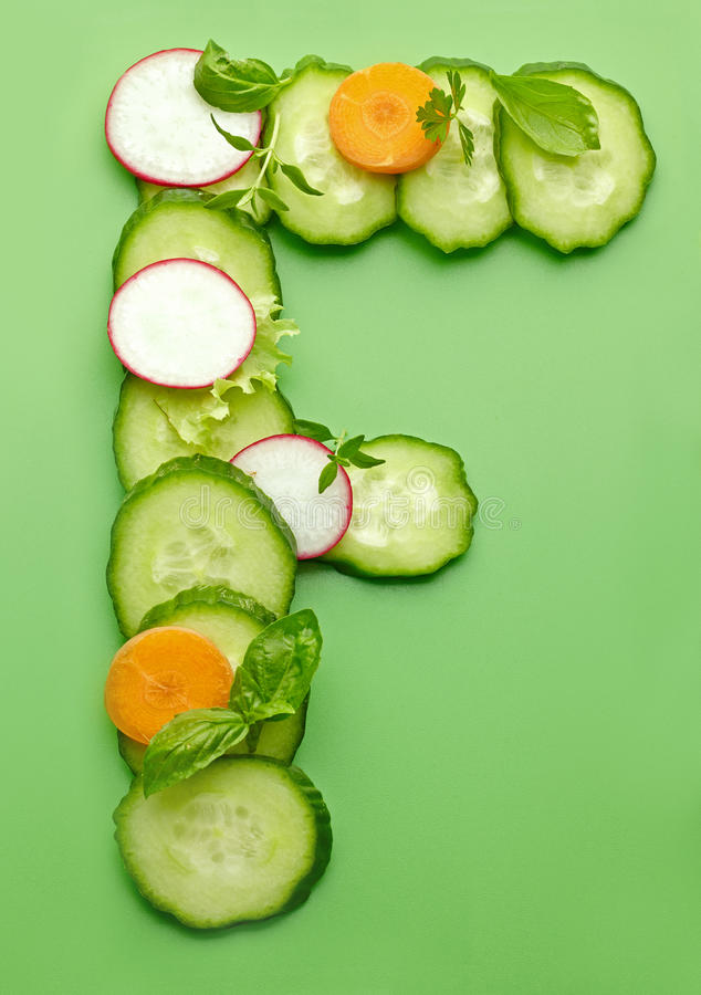 Free F Letter Made Of Raw Vegetables Royalty Free Stock Photos - 42150788