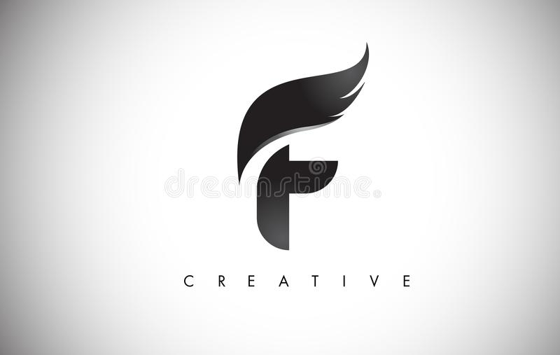 F Letter Wings Logo Design with Black Bird Fly Wing Icon. vector illustration