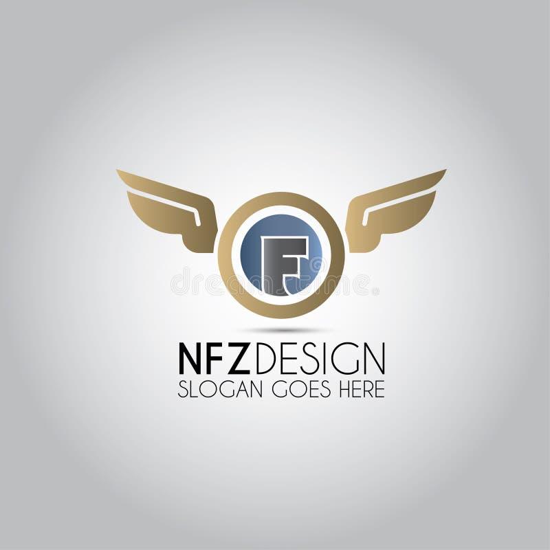 F Letter Wings Logo vector illustration