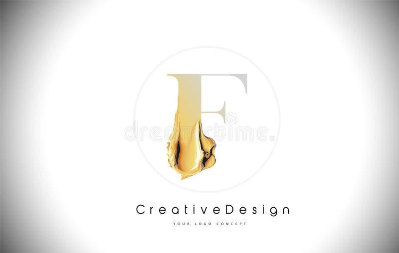 F Listowego projekta muśnięcia farby Złoty uderzenie Złocista koloru żółtego f listu logo ikona z Artystycznym Paintbrush ilustracji