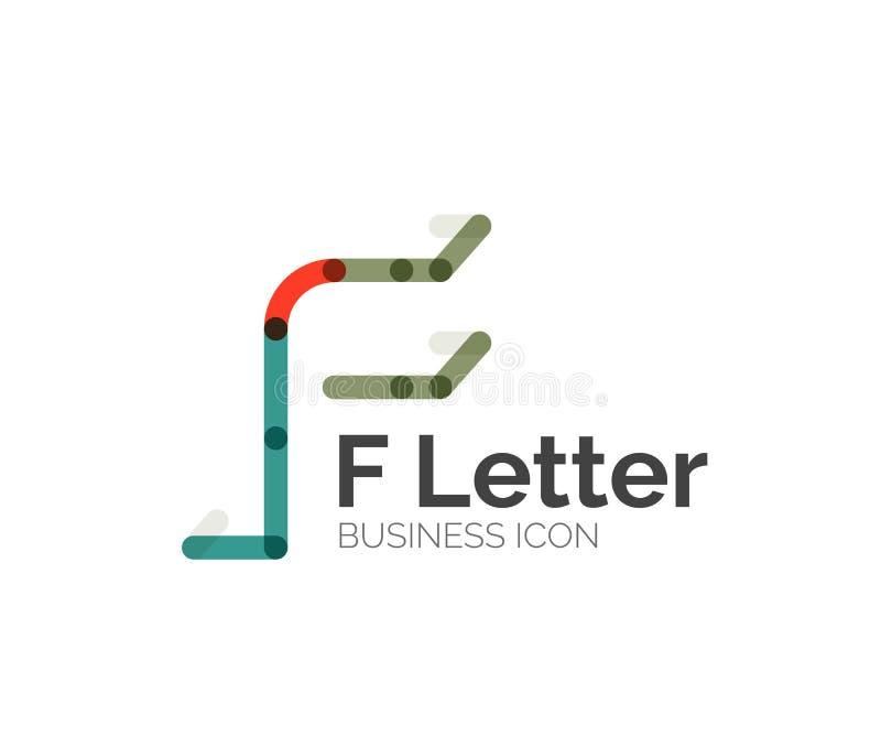 F listu logo, minimalny kreskowy projekt ilustracji
