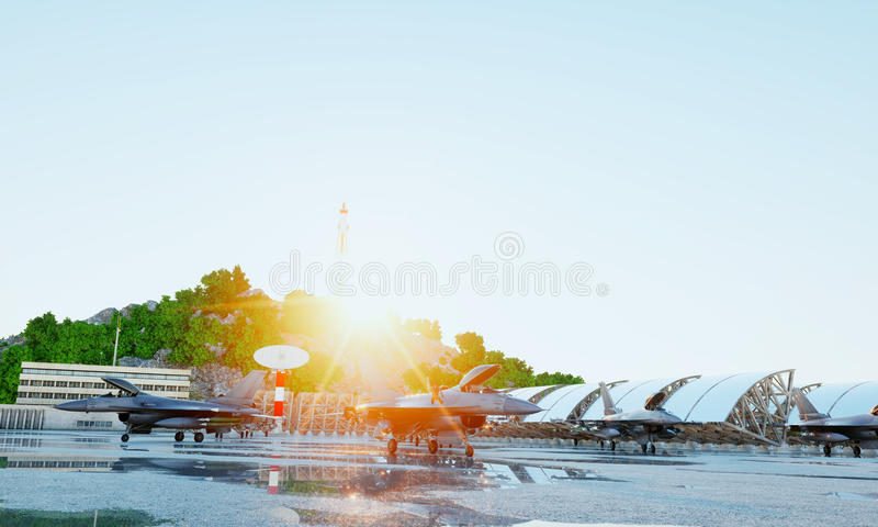 F 16 military fighter jet. military base. sunset. 3d rendering. F 16 military fighter jet. military base. sunset. 3d rendering stock image