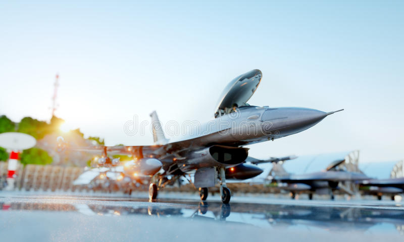 F 16 military fighter jet. military base. sunset. 3d rendering. F 16 military fighter jet. military base. sunset. 3d rendering royalty free stock photo