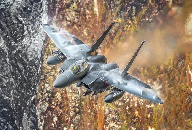 F15 military fighter jet. United States Air Force, USAF F15 Strike Eagle military fighter jet in flight