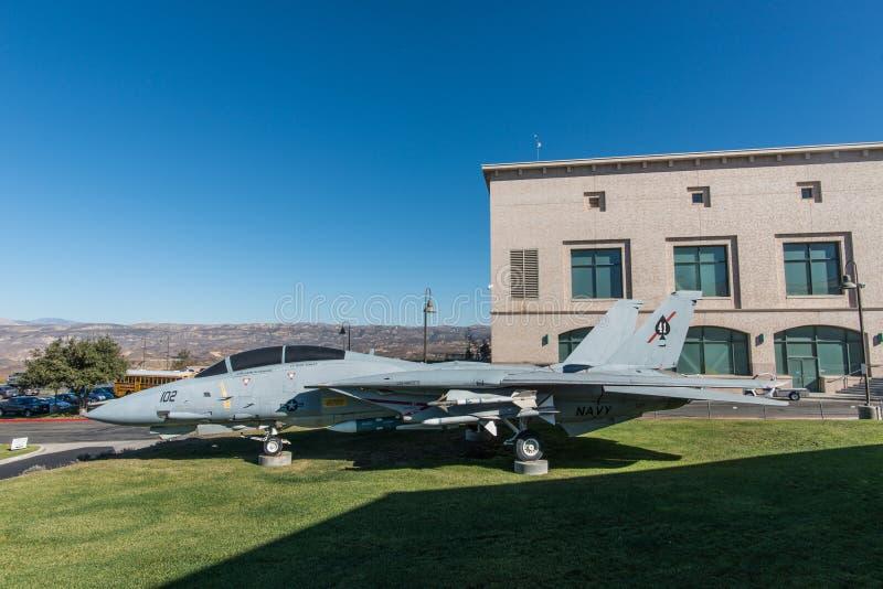 F14 montré en Ronald Reagan Presidential Library, Simi Valley, la Californie photo libre de droits