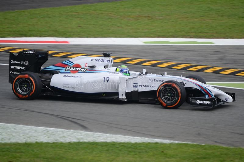 2014 F1 Monza Williams FW36 - Felipe Massa. Williams Martini Racing FW36 Nr.19 driven by Felipe Massa at the first chicane of Monza during Friday free practice stock images