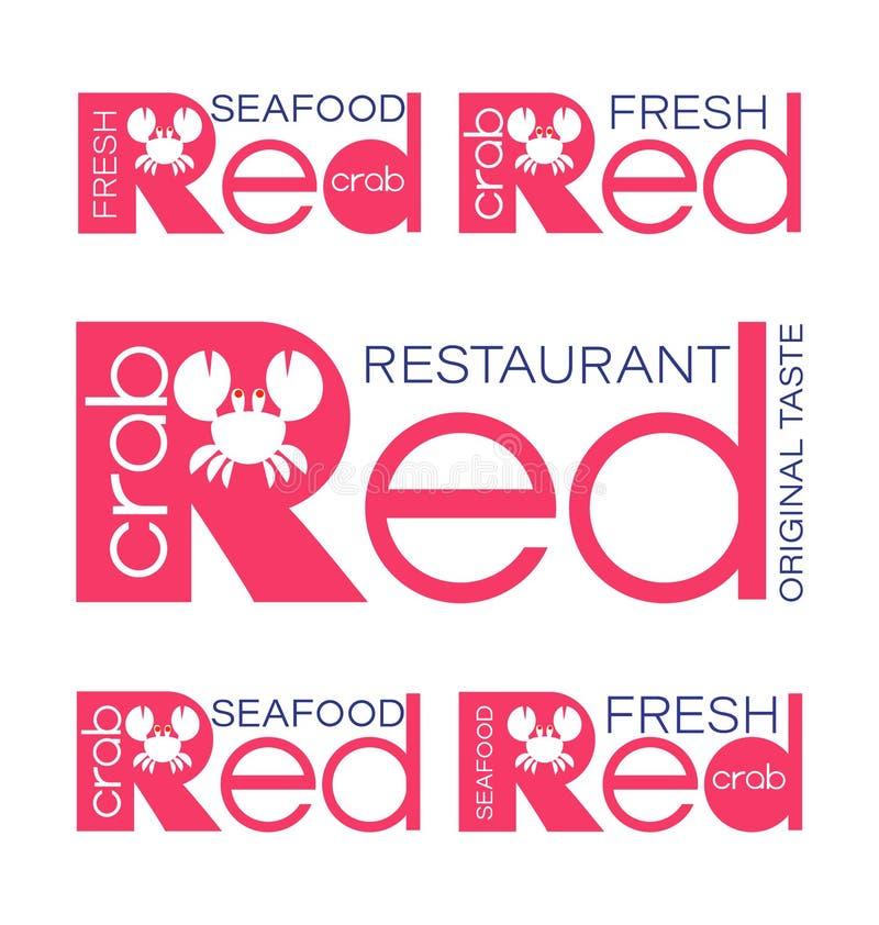 f?nga krabbor red panera kallat klippa restaurangen f?r fotoet f?r mrcajevcien f?r meat f?r logoen f?r festivalmatkupusijadaen se vektor illustrationer