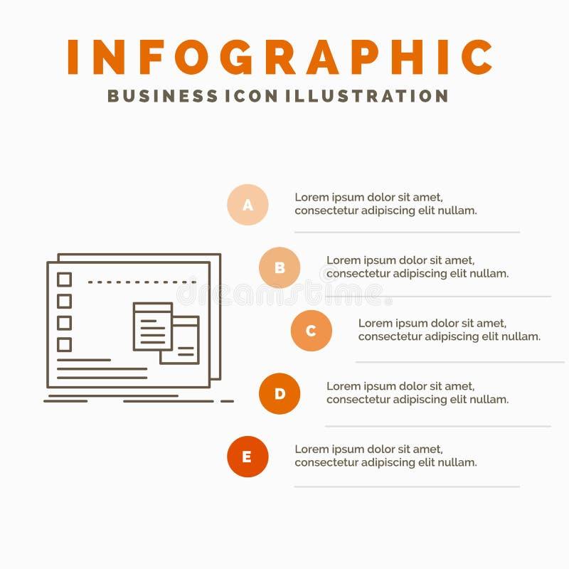 F?nster, Mac, fungerande, OS, programInfographics mall f?r Website och presentation Linje gr? symbol med orange infographic royaltyfri illustrationer