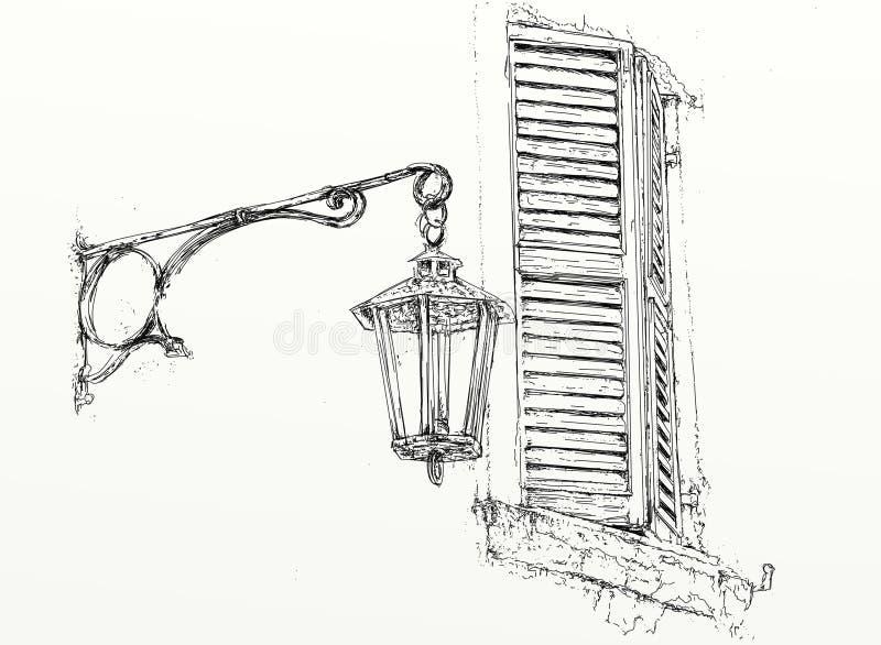 F?nster och lampa vektor illustrationer