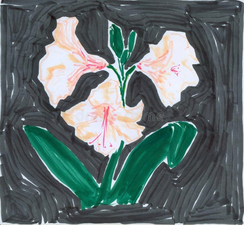 för announciation pink lilly royaltyfri illustrationer