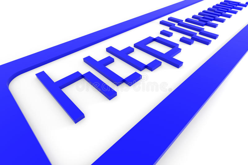 för begreppshttp för adress 3d blåa internet www royaltyfri illustrationer