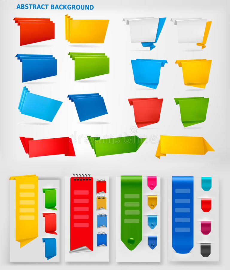 för färgrikt enormt set vektor origamipapper för baner royaltyfri illustrationer
