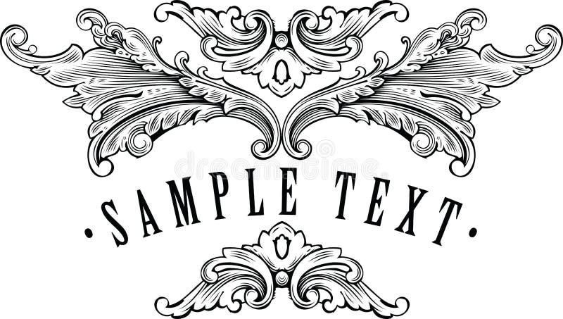 för malltitel för ram din dekorativ tappning stock illustrationer