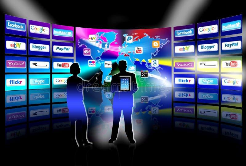 för nätverkspresentation för apps mobil vägg för video royaltyfri illustrationer