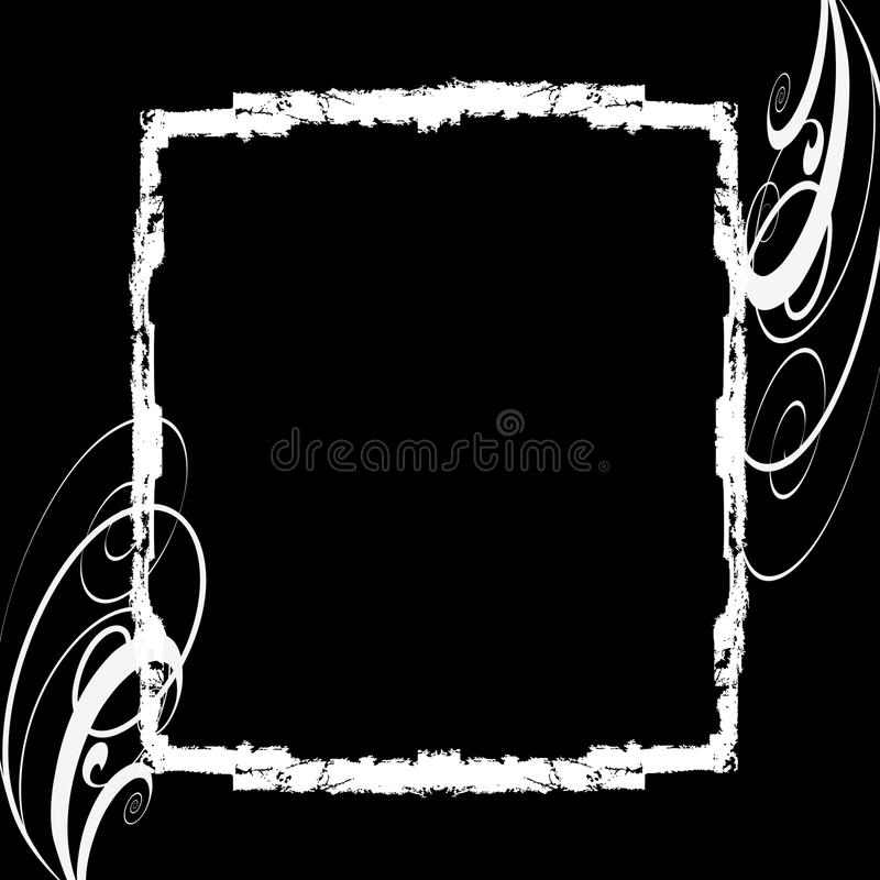 för ramgrunge för bakgrund svart white stock illustrationer
