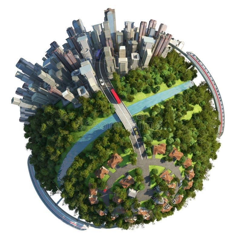 förorter för stadsbegreppsjordklot stock illustrationer