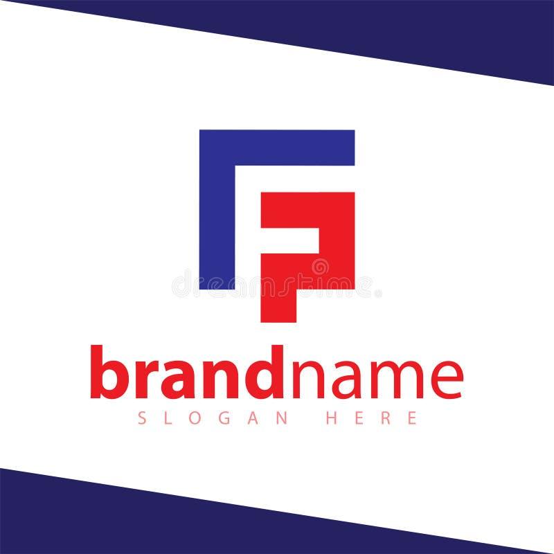F P Letter Square Abstract Logo шаблон акций иллюстрация штока