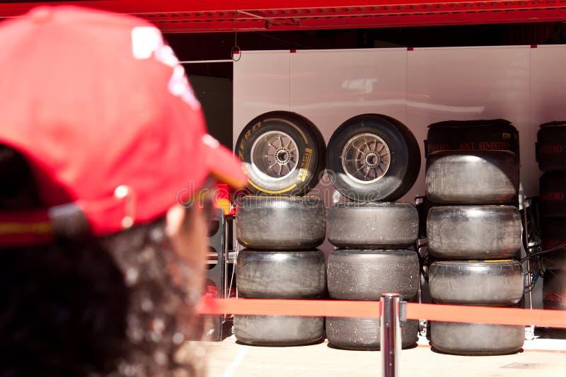 F1 pré Barcelone, pneus image libre de droits
