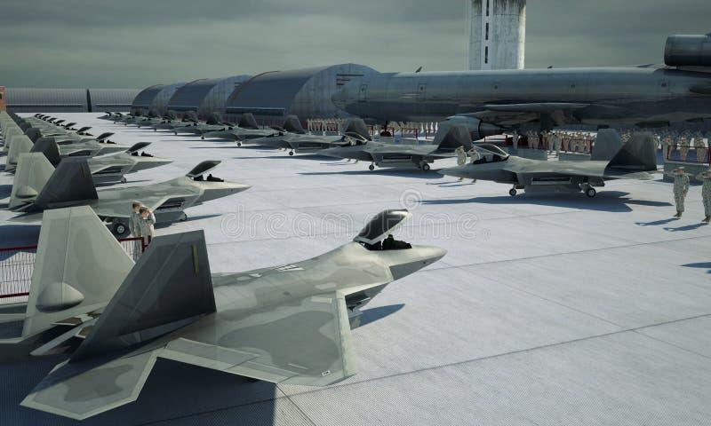 F 22 ptak drapieżny, amerykański militarny samolot szturmowy Militay baza, hangar, bunkier zdjęcie royalty free