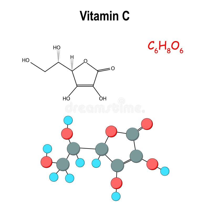 f?r apelsinstil f?r c nytt sunt vitamin modell av molekylen Molekyl?r struktur f?r vitamin C royaltyfri illustrationer