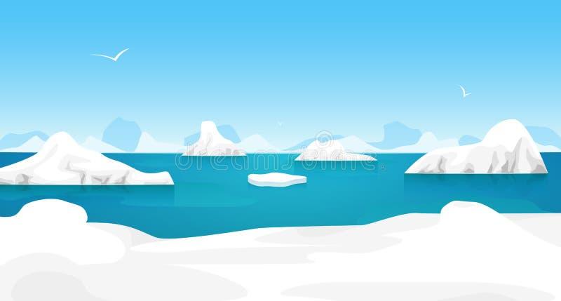 F?r arktiskt utomhus- plats islandskap f?r tecknad film vektor royaltyfri illustrationer