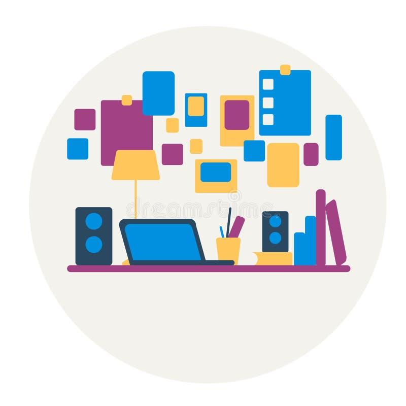 f?r bildkontor f?r illustrationer 3d arbetsplats På tabellen är en bärbar dator, lampan, koppen, kaktus Vektorillustration med lu vektor illustrationer