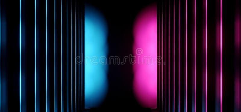 F?r den Sci Fi f?r neon st?ller ut bl? tom gl?dande vibrerande laser f?r abstrakta m?rka Retro triangeln fr?mmande lilor f?r rymd vektor illustrationer