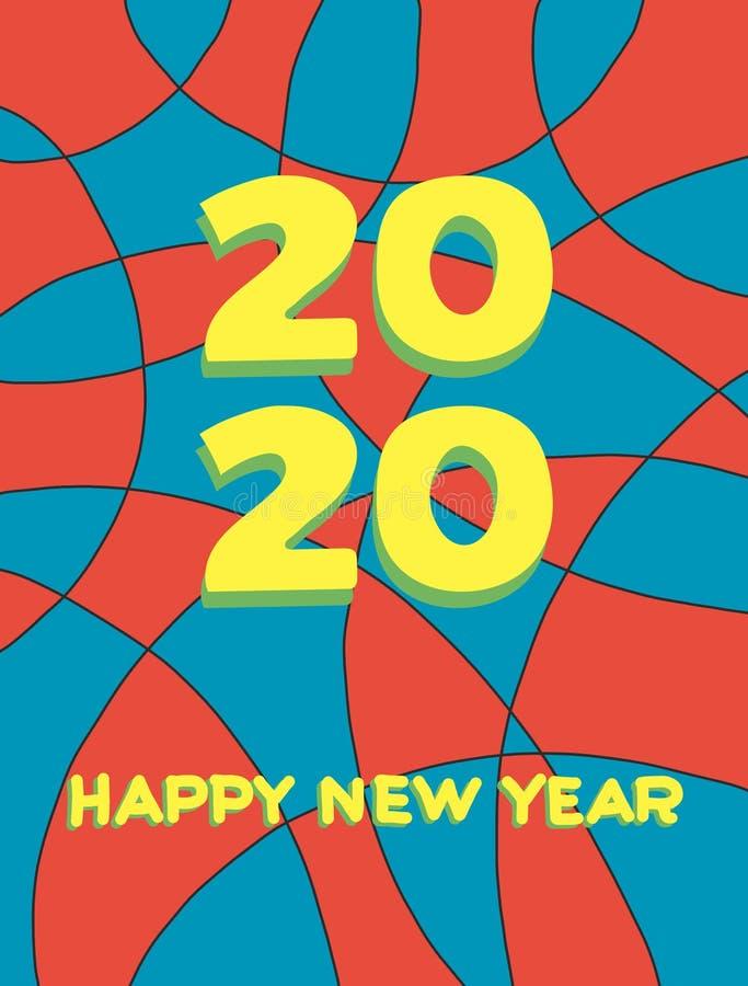 2020 f?r f?r designbakgrund eller h?lsning f?r lyckligt nytt ?r id?rika kort 2020 nummer för nytt år på colorfull royaltyfri illustrationer