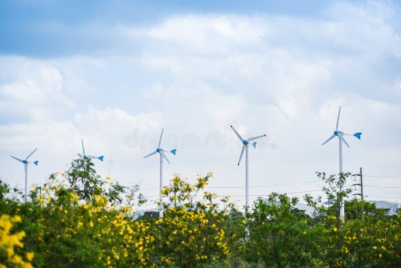 F?r Eco f?r naturlig energi f?r landskapet f?r vindturbinen brukar det gr?na begreppet makt p? vindturbiner bl? himmel arkivbild