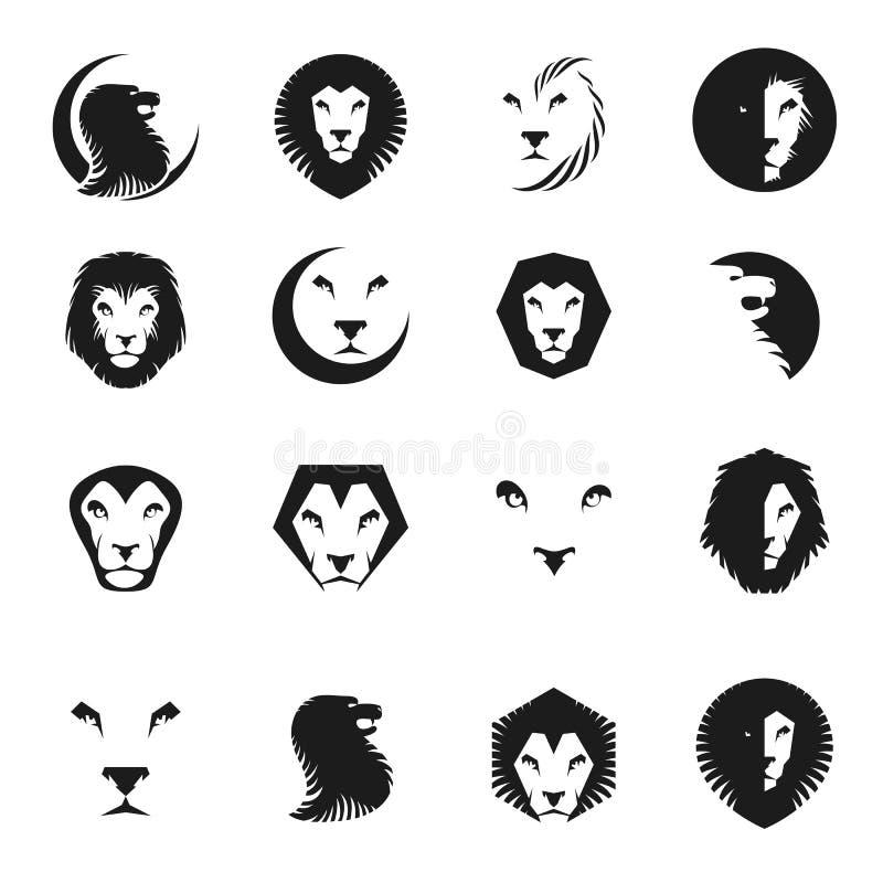 F?r emblembest?ndsdelar f?r modiga lejon forntida upps?ttning Heraldisk samling f?r vektordesignbest?ndsdelar stock illustrationer