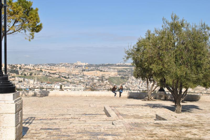 f?r extern gammal v?gg jerusalem f?r stad minaret arkivfoton